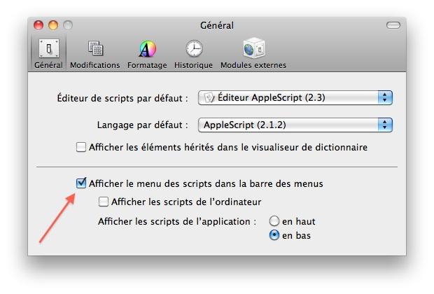 Préférences AppleScript